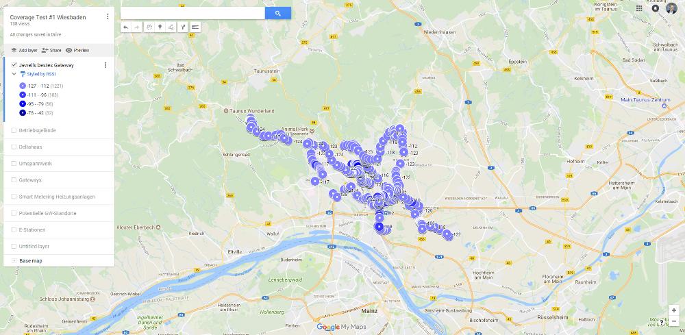 Karte des ersten Reichweitentests